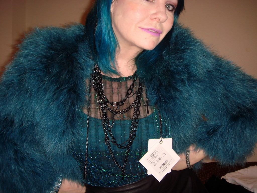 Sly teal feather jacket