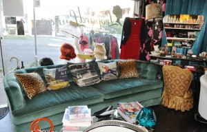Leopard Lounge teal couch
