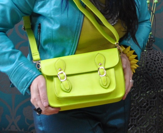 neon yellow satchel ASOS