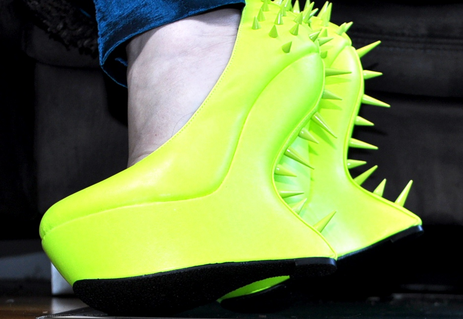 neon yellow spiky platform shoes from ASOS