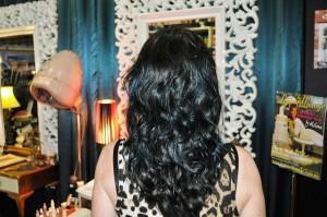 blue and dark brown wavy hair