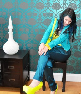 ASOS teal trousers neon yellow spiky platform shoes