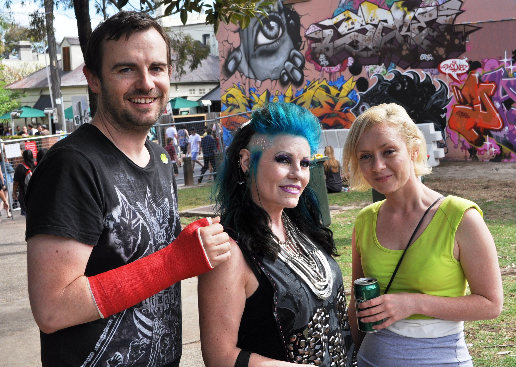 with friends at Newtown festival
