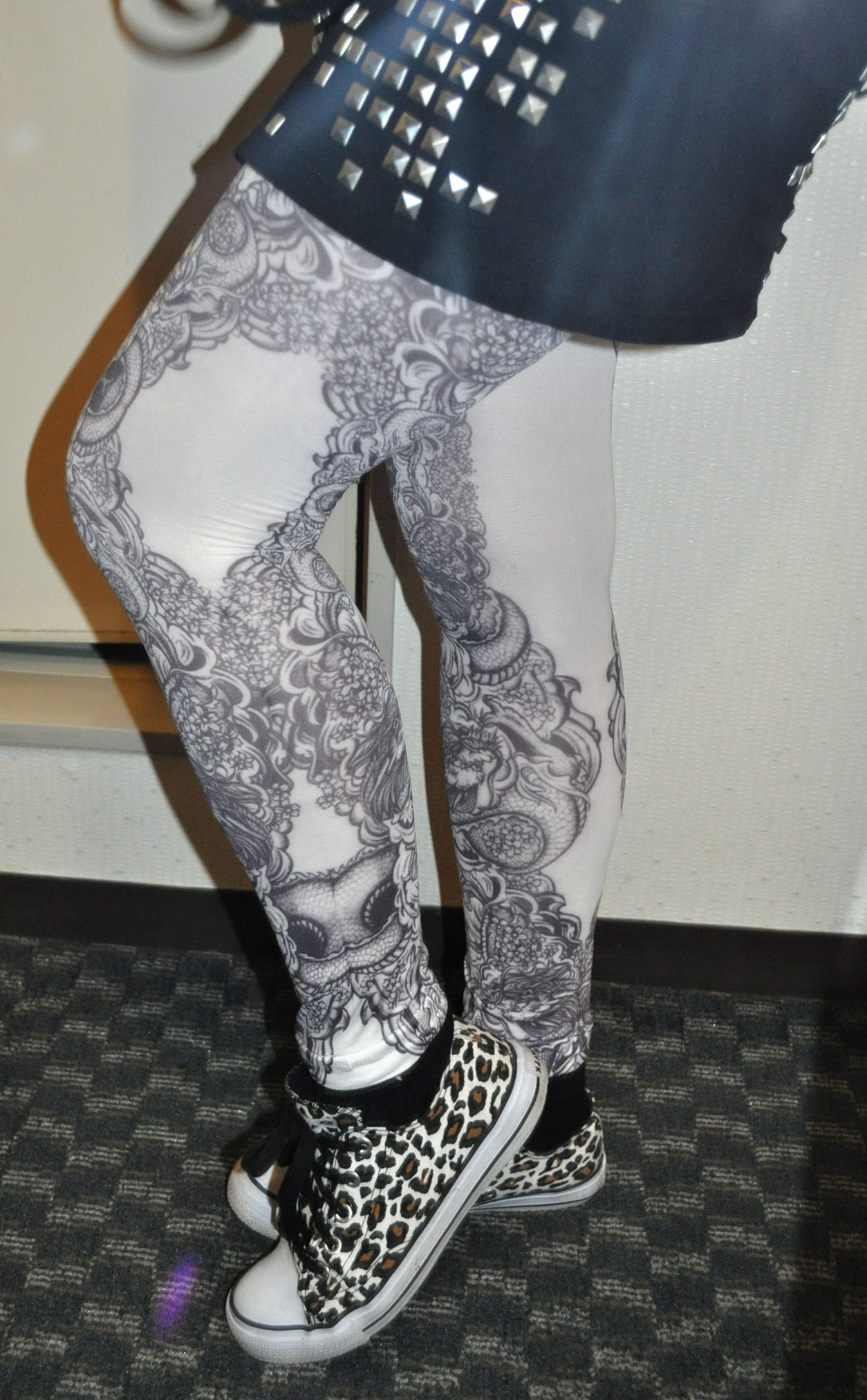 punk goth japanese tattoo tights